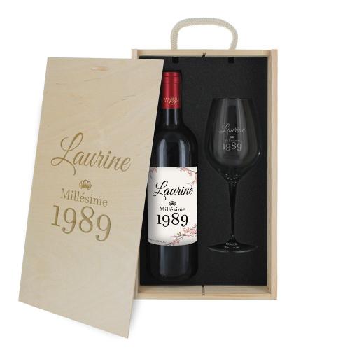 Coffret verre et bouteille de vin pour un anniversaire