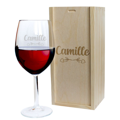 Coffret verre à vin gravé Amour