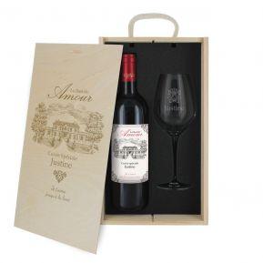 Coffret à vin 2 pièces personnalisé amour