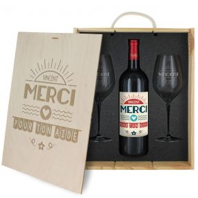 Coffret à vin 3 pièces personnalisé Merci
