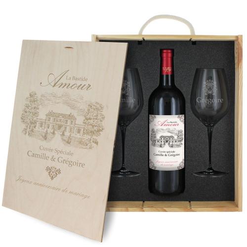 Coffret à vin 3 pièces personnalisé Bastide Amour