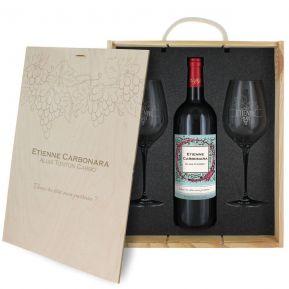 Coffret à vin 3 pièces personnalisé Vignoble