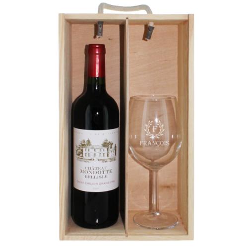 Coffret bouteille de vin et verre gravés