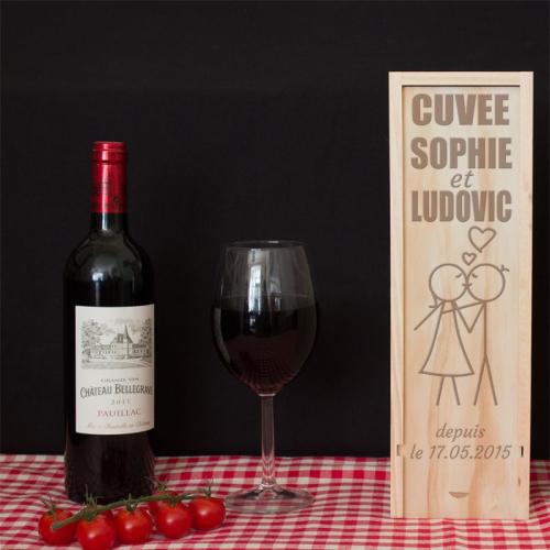 Coffret à vin Saint Valentin gravé