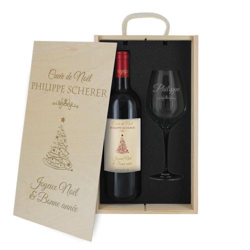 Coffret à vin de Noël personnalisé
