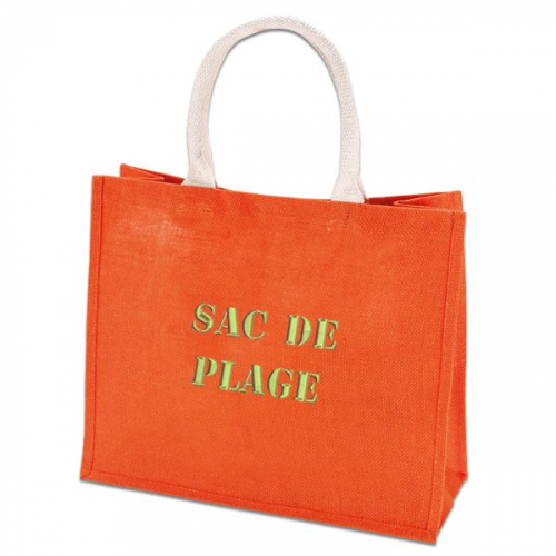 Un sac shopping orange brodé