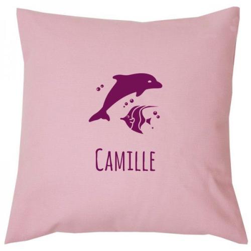 Housse de coussin carrée en coton personnalisée rose