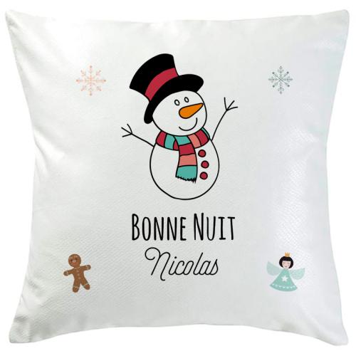 Coussin de Noël bonhomme de neige