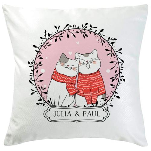 Coussin Joyeux compères - Couple chat