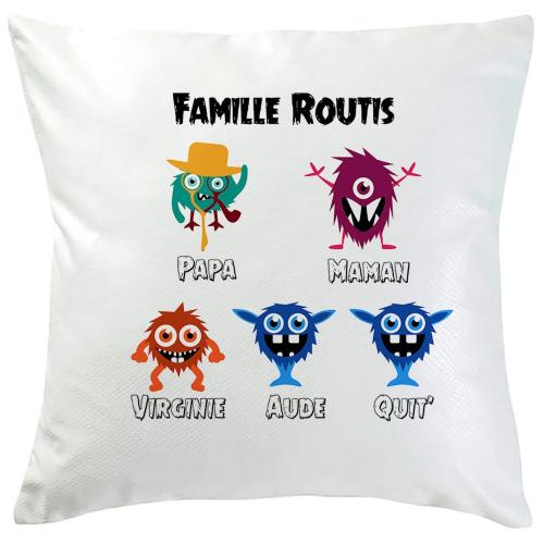 Coussin monster family 5 prénoms