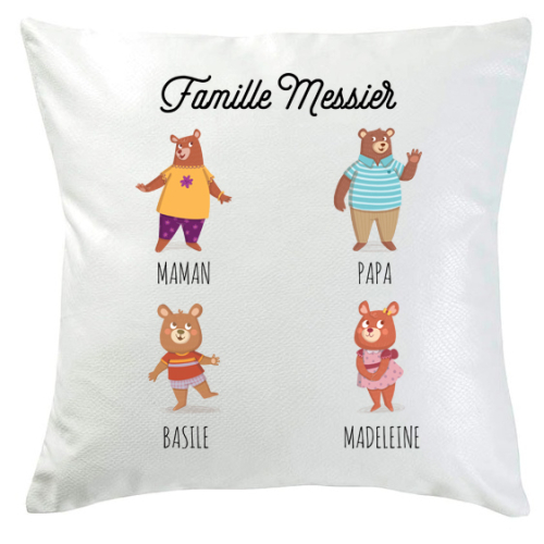 Coussin famille ours 4 personnes