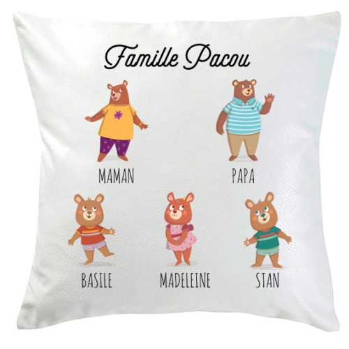 Coussin famille ours 5 personnes