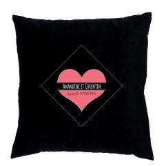 Coussin personnalisé coeur romantique