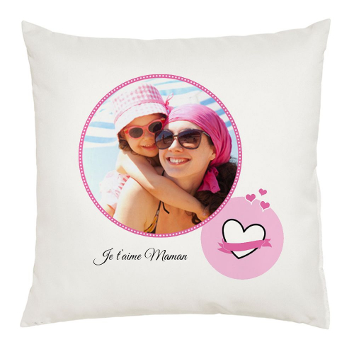 Coussin photo ronde rose