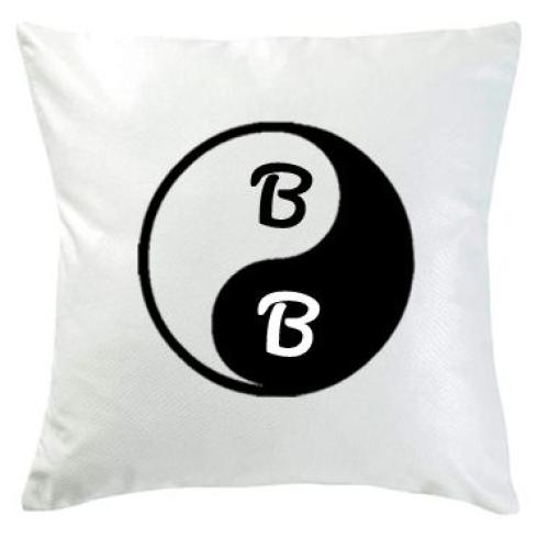 Coussin blanc yin et yang