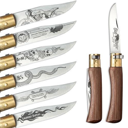 Couteau de poche Old Bear gravé Hells Angels