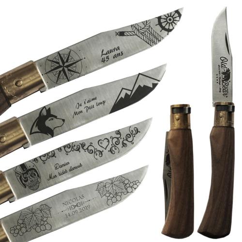 Couteau de poche Old Bear personnalisé avec motifs