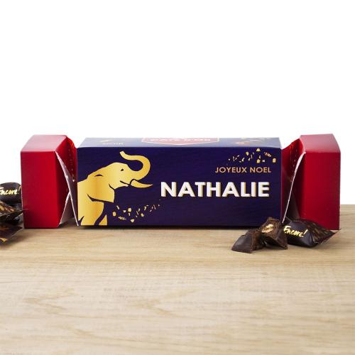 Cracker box de Mini chocolats Noirs Côte d'Or personnalisée Noël