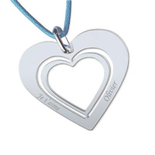 Collier double coeur percé avec cordon