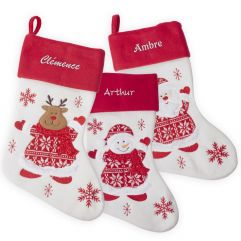 Chaussette de Noël feutrine et tricot personnalisée