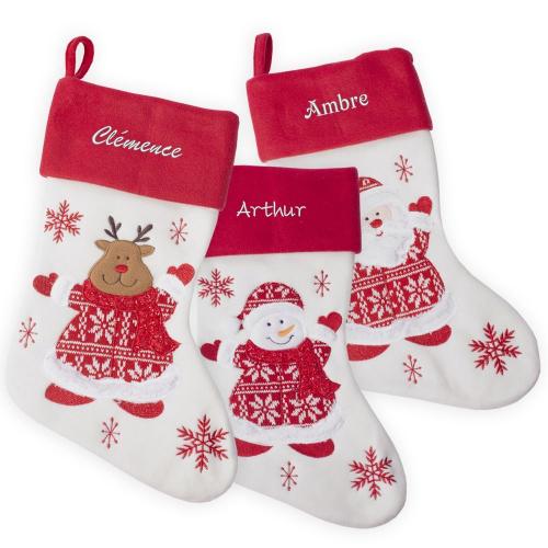 Chaussettes de Noël en feutrine épaisse et tricot