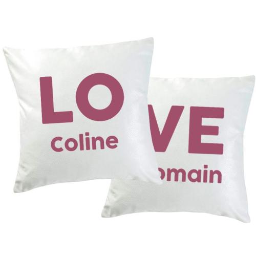 Duo de coussins LOVE personnalisés prénoms