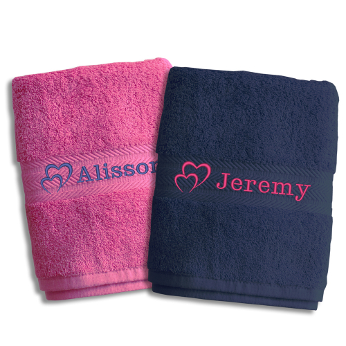 Duo de serviettes personnalisées St Valentin