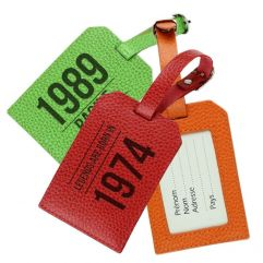 Porte-étiquette de bagage anniversaire en cuir gravé