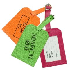 Porte-étiquette de bagage tampon en cuir gravé