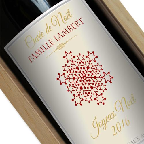 Étiquette de bouteille de vin noël