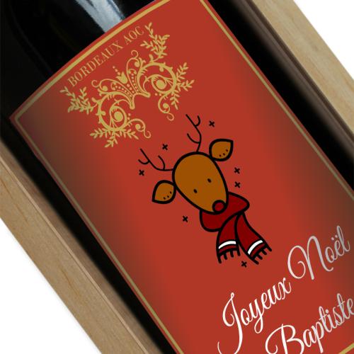 Étiquette de vin de noël personnalisée