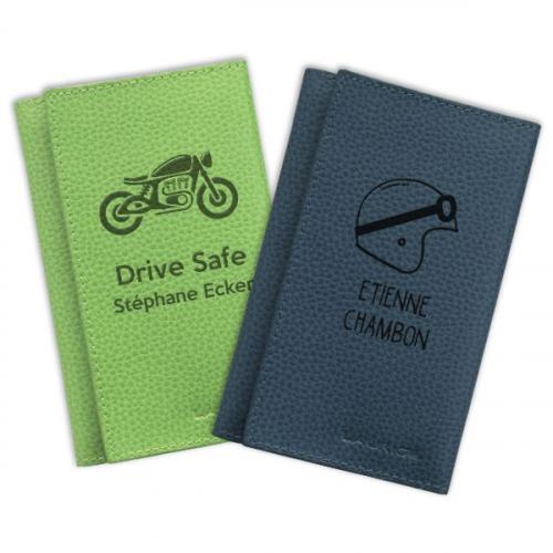 étui à papiers de moto personnalisé