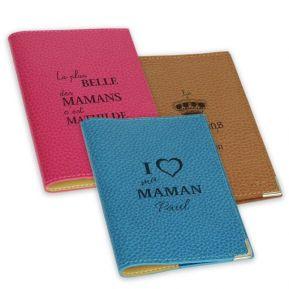 Etui passeport cuir fête des mères personnalisé