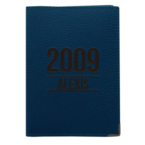 Etui passeport cuir marine personnalisé anniversaire