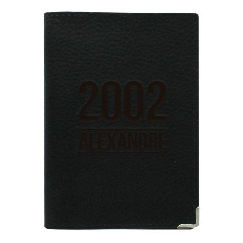 Etui passeport cuir noir personnalisé anniversaire