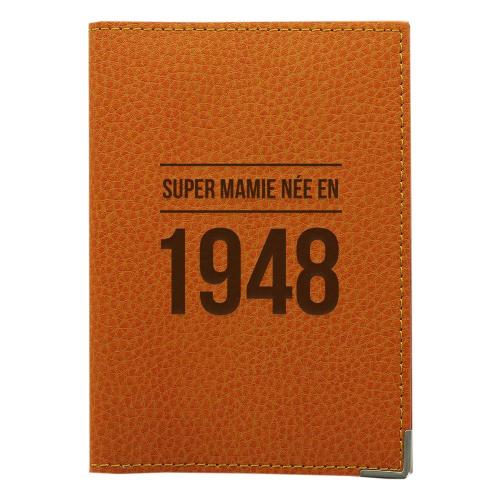 Etui passeport cuir personnalisé anniversaire orange