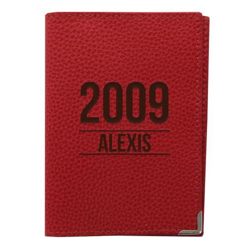 Etui passeport cuir rouge personnalisé anniversaire