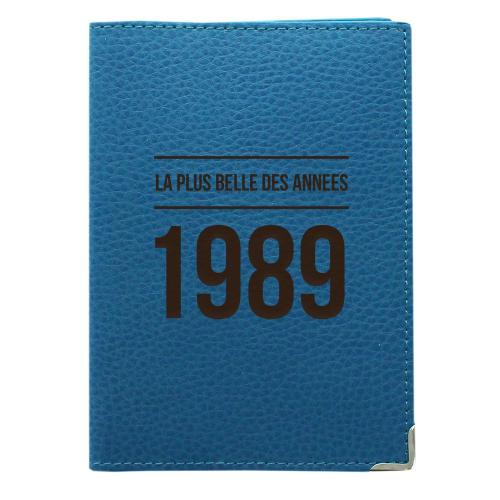 Etui passeport cuir turquoise personnalisé anniversaire