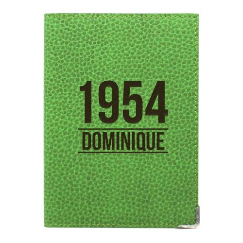 Etui passeport cuir vert personnalisé anniversaire