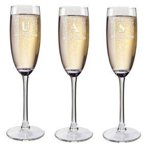 Flûtes à champagne initiale gravées
