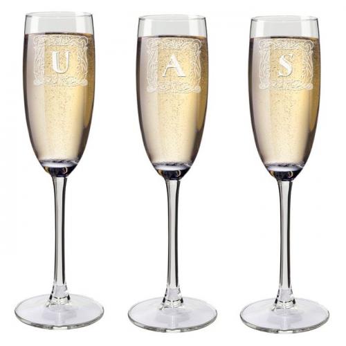 Flûtes à champagne initiales personnalisées avec un prénom