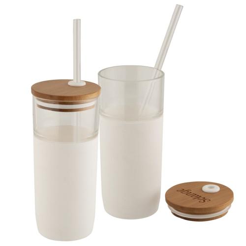 Gobelet en verre avec couvercle en bambou