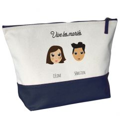 Grande trousse de toilette bicolore personnalisée We Are Family