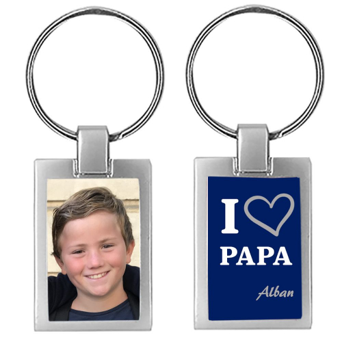 Porte-clés photo i love papa