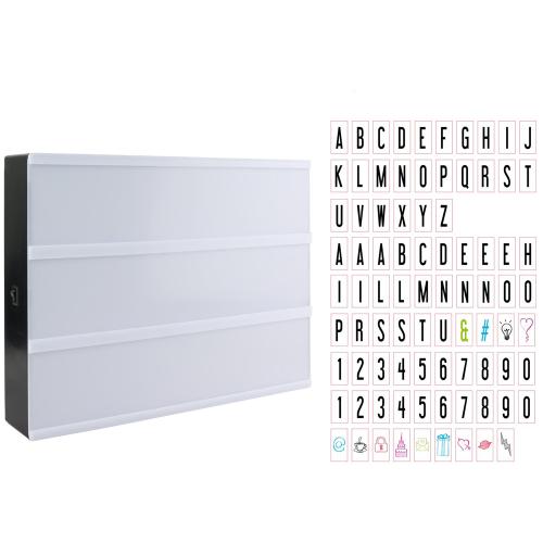 Lettres et symboles de la boite lumineuse