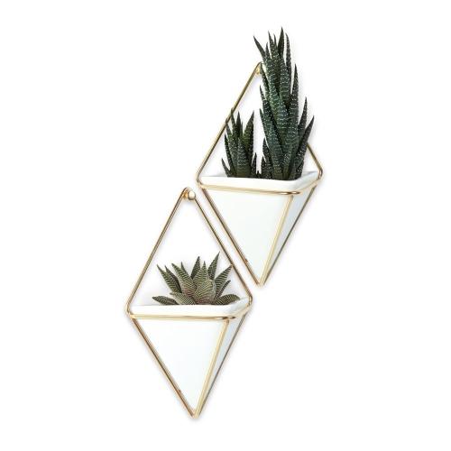Lot de 2 vases muraux doré plantes