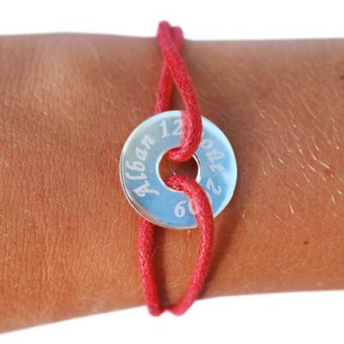 Bracelet médaille cible gravée