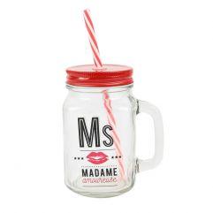 """Mason jar en verre avec paille """"Ms Amoureuse"""""""