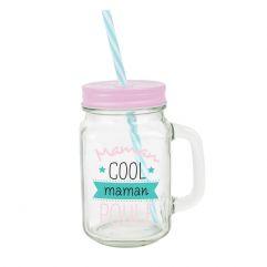 """Mason jar en verre avec paille """"Maman cool et poule"""""""