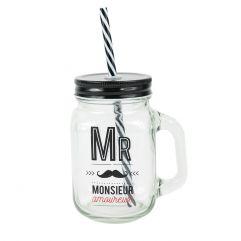 """Mason jar en verre avec paille """"Mr Amoureux"""""""